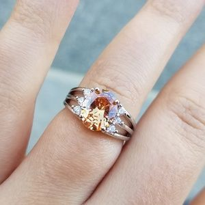 925 silver oval cut morganite ring size 7